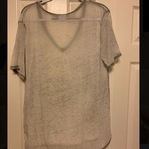 Gray Sheer V Neck T Shirt Abound